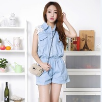 Free Shipping 2014 Newest Fashion Korean Summer Women's Plus Size Lace Decoration Solid Casual Denim Jumpsuit Shorts N16155