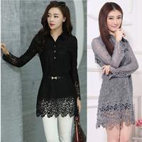 2014 spring medium-long plus size female slim large lapel  silk slim waist lace shirt