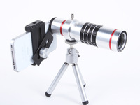 18X Magnification Mobile Phone zoom Telescope Magnifier Optical Camera Lens with Tripod + Holder + hard Case for iPhone 4 4S