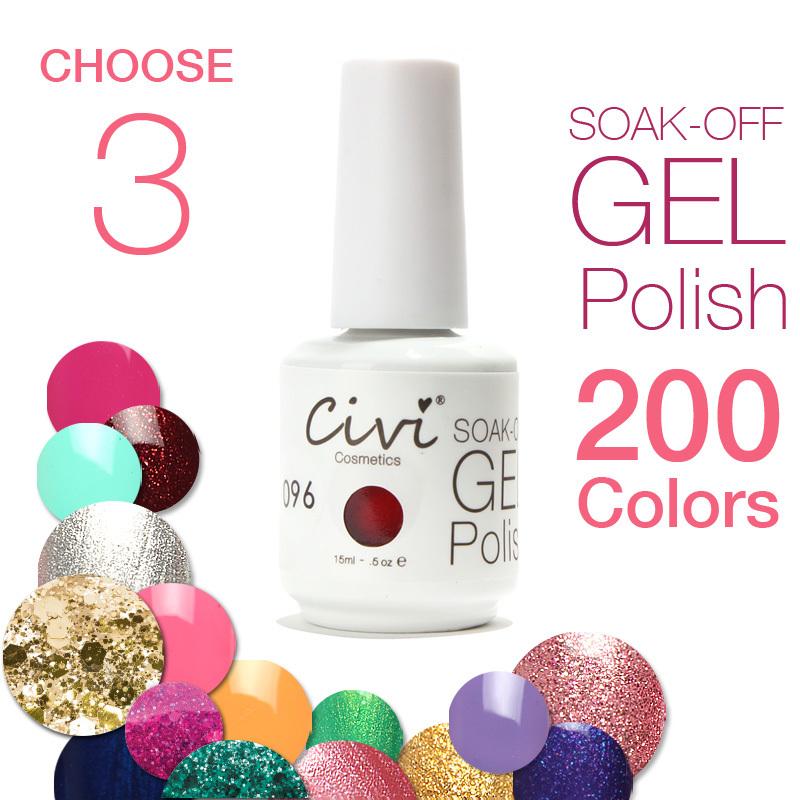 (Choose 3)Civi Nail Gel Polish Soak Off Nail Gel UV 30 Days Long Lasting 200 Gorgeous Colors The Best Gel Polish(China (Mainland))