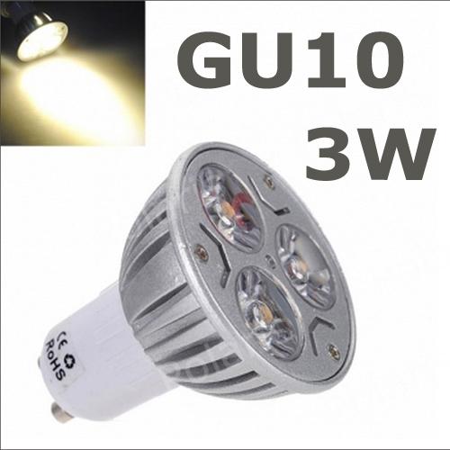 6pcs/lot non-dimmable 3W GU10 led High Power gu10 led Lamp,White gu10 led spotlight led(China (Mainland))