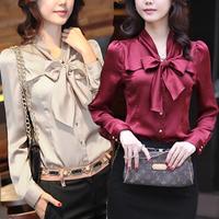 Spring plus size shirt women's slim bow long-sleeve chiffon shirt female