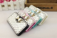 10x pcs Swarovski rhinestone diamond silkworm pattern silk clamshell leather holster phone protect cover case for iphone 4 4S 4C