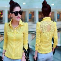 Women's shirt 2014 spring women's long-sleeve cutout crotch fashion slim female shirt top