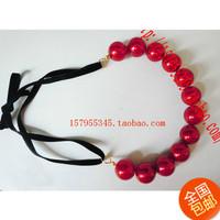 Sistance 20mm pearl necklace tassel ribbon pendant formal dress accessories short design