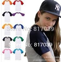 Free shipping Baseball Raglan Short Sleeve Womens T-Shirt Size XXS-XL