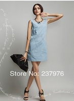 2014 free shipping new women's denim dresses round neck denim skirts dress fashion tide women spring dress summer high quality