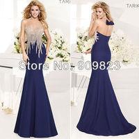 2014 Designer Beaded Pattern Top Bow Back Mermaid Elegant Evening Gowns Dresses New 1474