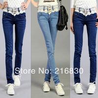 2014 new arrival ladies mid waist skinny jeans pants with lace decoration fashion women denim pencil pants jeans