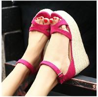 Free shipping women sandals  2014 summer new retro chic rattan woven grass slope platform pumps high-heels shoes