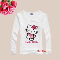 fashion new cotton Lycra cute hello kitty women t-shirt long sleeve womens t shirts