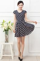 Plus Size Sexy Women Polka Dot Print Slim Dress Casual Lady Dress Girl Big Large 3XL XXXL XXXXL 2014 New Fashion Summer
