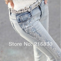 Personalized ladies bleached beading jeans trousers fashion female slim jeans pants with crystal decotation