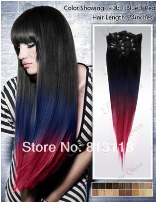 ombre Oxette #1b/fuscia 5 Ombre clip hair oxette hair oxette