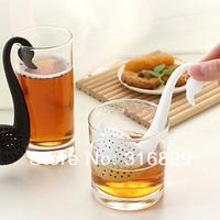 Free Shipping 10pcs/lot New Black Cute Creative Cup Swan Shape Colander Spoon Tea Strainer Teaspoon Infuser Filter