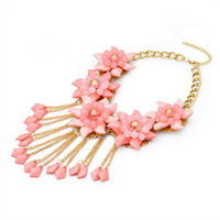 New Designer New Arrival Fashion Unique Candy Color Choker Necklace Statement Jewelry Beaded Tassel Flower Necklace MC53