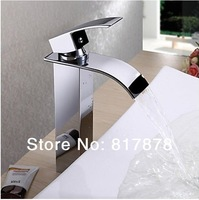 New brass chrome waterfall bathroom basin sink mixer tap faucet single hole se22