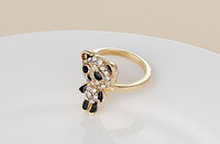 Korean Style Cute Rings Adorable Panda Crystal Ring Gold Plated Ring for Women RD-J004