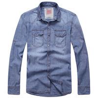 Pure water wash cargo denim shirt finishing Men retro vintage shirt
