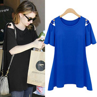Free Shipping Newest  EU Style Fashion Female Top Summer Ladies Loose Solid Color O-neck Short-sleeve T-shirt LBR8033