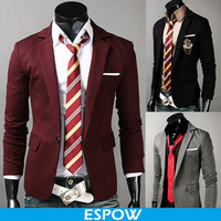 Burgundy Best Prom Suits Men Italian Black and Grey 2014
