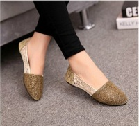 New arrival 2014 gauze net fabric pointed toe women flats fashion gold summer single shoes women flat shoes