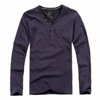 Elegant male 2014 spring new arrival male Henry collar faux two piece stripe long-sleeve T-shirt