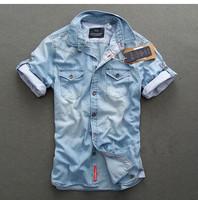 Fashion male spring and summer cotton 100% water wash denim short-sleeve shirt