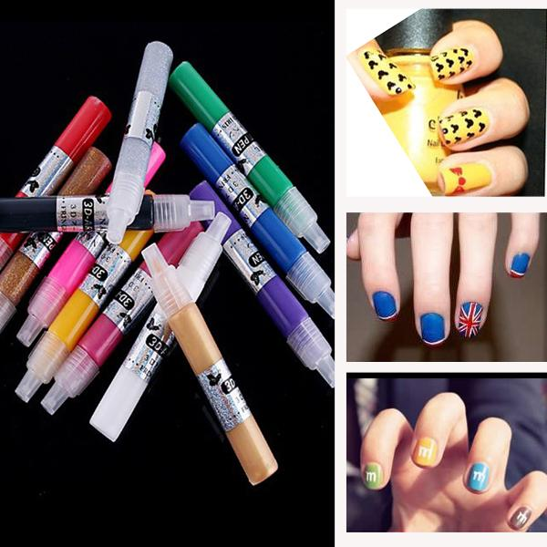 1Set/12pcs GLITZ & GLAM Kit Hot Design UV Gel Nail Art Salon Polish 3D Paint Pen Dotting Drawing Painting Brush Free Shipping(China (Mainland))