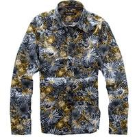 men Shirt 100% cotton high quality satin boy personality chrysanthemum all-match long-sleeve shirt new 2014 summer men clothing
