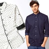 men's Elegant slim shirt 2014 summer men three quarter sleeve shirt polka dot shirt 100% cotton mercerized cotton high quality