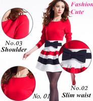 2014 New Hot Long Sleeve Sexy Elegant Dress Cute Slim MINI Dress Lady Striped Ball Gown Bow Elegant Dress Blue Red Black Rose