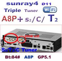 2014 free shipping new arrival sunray 800 se sr4 dm 800se wifi  a8p  D11 Triple tuner DVB-S(S2)/C/T2 digital satellite receiver