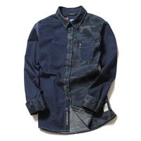 Scot h long-sleeve shirt slim male Camouflage shirt color block decoration
