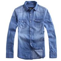 men double bag long-sleeve denim shirt 2014 spring men's clothing fashion blue Denim Cotton jacket outerwear high quality retail