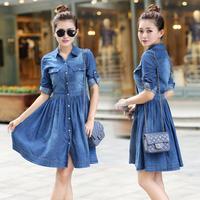 2014 New Spring Summer Fashion Plus size Ladies' blue Denim Dress Slim Women's Casual women's Jeans Dresses S-XXXXL