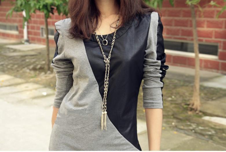 Patchwork Black Grey Long Sleeve PU Leather Cotton Autumn Casual Slim Mini Dress(China (Mainland))