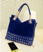 2014 spring hight quality women  PU leather handbags  zipper riviet shoulder bag 2 colors
