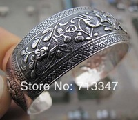 Tribal Old Tibet Silver Vintage Carving Leaf Womans cuff bracelet Bangle