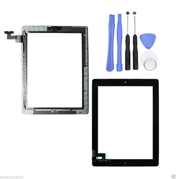 Touch Screen Glass Digitizer Replacement+ Adhesive Glue Tape 3M with Home Button ...
