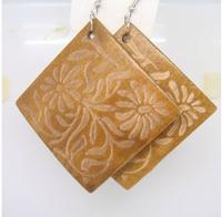 Free shipping(minimum order is $15) New arrival fashion elegant women wooden flower square earrings
