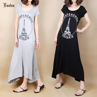 Free Size New Arrival Women Summer Short Sleeve Modal Slim Black Long Dress SP926