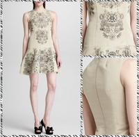 Free shipping  2014 European and American retro totem printing waist sleeveless dress 13347