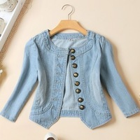 Autumn denim outerwear female half sleeve  coat short jacket design spring and autumn women's