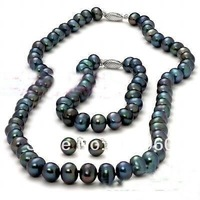 Hot Sale true 8-9MM Black Pearl Necklace Bracelet & Earring Set  fashion jewelry