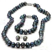 Hot Sale true 8-9MM Black Pearl Necklace Bracelet & Earring Set  fashion jewelry