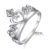 new bestselling Romantic luxury crown love heart zircon crystal stainless steel& platinum plated wedding rings