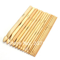 "New Arrival 16 Sizes Set 6"" Bamboo Crochet Hooks Knitting Weave Needle Craft Tool 2.0-12.0mm Free Shipping"