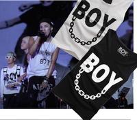 2014 hiphop new men tank tops Bigbang G-DRAGON Women/Men cotton Sleeveless vests letter print white black Korean Free Shipping