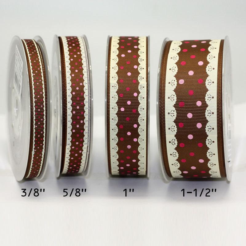 2014 yama ribbon 1.5'' 38mm imitation lace edge dots printed grosgrain ribbon for hair bows 100yards/roll(China (Mainland))